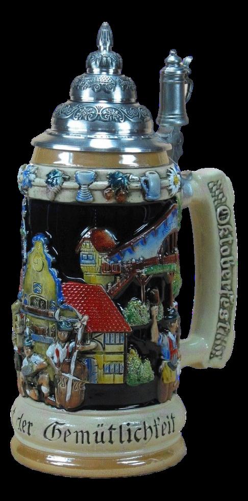 "Bierkrug Szenen vom Oktoberfest ""blau"""