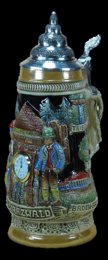 Schwarzwaldkrug mit funktionierender Uhr
